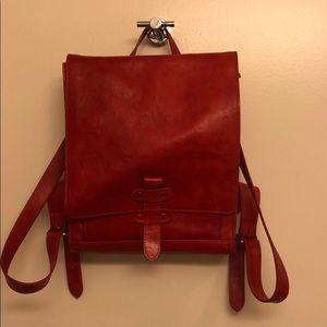 Handbags - Red leather rucksack